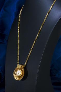 Movado Vintage 1960s Movado Multi Functional Gold Conch Sea Shell Brooch Pendant Watch - 1098117