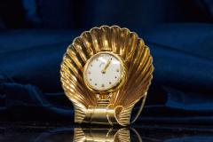 Movado Vintage 1960s Movado Multi Functional Gold Conch Sea Shell Brooch Pendant Watch - 1098119