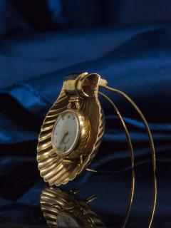 Movado Vintage 1960s Movado Multi Functional Gold Conch Sea Shell Brooch Pendant Watch - 1098121