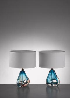 Murano Pair of blue Murano glass table lamps - 1702285