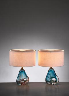 Murano Pair of blue Murano glass table lamps - 1702286