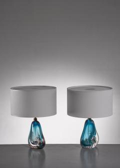 Murano Pair of blue Murano glass table lamps - 1702287