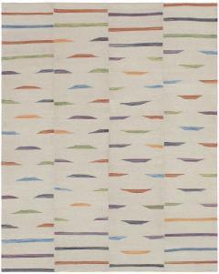 NASIRI Tribal Mazandaran Flatweave Rug in Beige with Multi Color Accents - 1358866