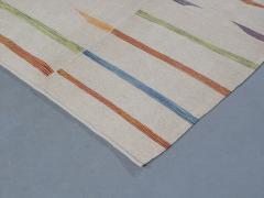 NASIRI Tribal Mazandaran Flatweave Rug in Beige with Multi Color Accents - 1358869