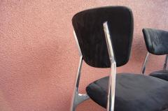 Nambe Set of Four Polished Aluminium and Suede Dining Chairs by Namb  - 836733