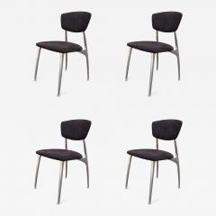 Nambe Set of Four Polished Aluminium and Suede Dining Chairs by Namb  - 881367