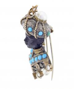 Nardi Nardi Turquoise Diamond Silver Gold Blackamoor Brooch - 1030375