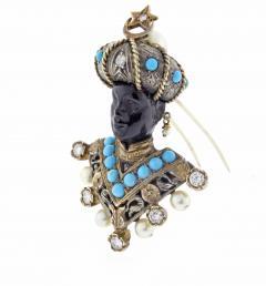 Nardi Nardi Turquoise Diamond Silver Gold Blackamoor Brooch - 1030377