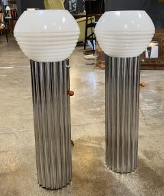 Nessen Studios Pair Two Chrome Column Lamps by Walter von Nessen 1930  - 1600195