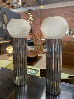 Nessen Studios Pair Two Chrome Column Lamps by Walter von Nessen 1930  - 1600203