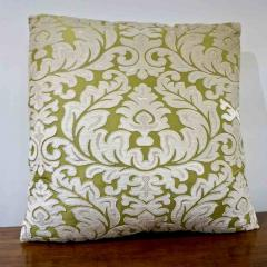 Nobilis Contemporary French Green and Ivory White Damask Velvet Throw Pillows - 552140