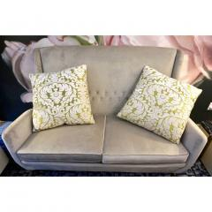 Nobilis Contemporary French Green and Ivory White Damask Velvet Throw Pillows - 552141