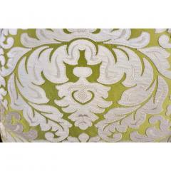 Nobilis Contemporary French Green and Ivory White Damask Velvet Throw Pillows - 552142