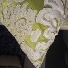 Nobilis Contemporary French Green and Ivory White Damask Velvet Throw Pillows - 552144