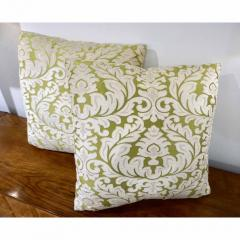 Nobilis Contemporary French Green and Ivory White Damask Velvet Throw Pillows - 552146