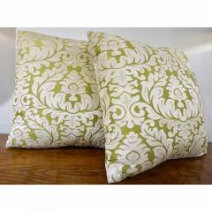 Nobilis Contemporary French Green and Ivory White Damask Velvet Throw Pillows - 552149