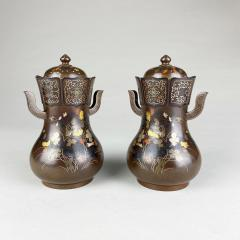 Nogawa A pair of decorative Bronze and multi metal covered vases by Nogawa  - 1724419
