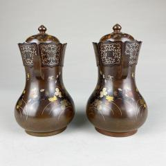 Nogawa A pair of decorative Bronze and multi metal covered vases by Nogawa  - 1724423
