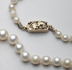Oakes Studio American Arts Crafts Period Pearl Necklace w Gold Clasp by The Oakes Studios - 536140