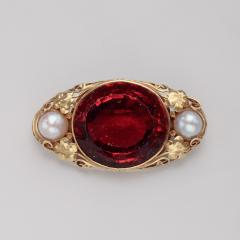 Oakes Studio Oakes Studio Brooch in 14kt Gold with Hessonite Garnet and Pearls - 1577461
