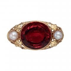 Oakes Studio Oakes Studio Brooch in 14kt Gold with Hessonite Garnet and Pearls - 1579228