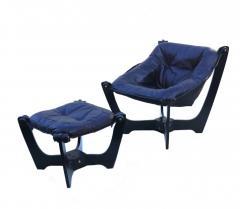 Odd Knutsen Luna Brown Leather Sling Chair with Ottoman Odd Knutsen - 1768683