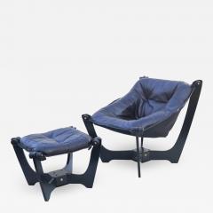 Odd Knutsen Luna Brown Leather Sling Chair with Ottoman Odd Knutsen - 1768786