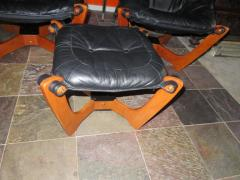 Odd Knutsen Pair of Luna Black Leather Sling Chairs with Ottoman Odd Knutsen Norway - 1674064