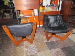 Odd Knutsen Pair of Luna Black Leather Sling Chairs with Ottoman Odd Knutsen Norway - 1674065