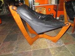 Odd Knutsen Pair of Luna Black Leather Sling Chairs with Ottoman Odd Knutsen Norway - 1674066