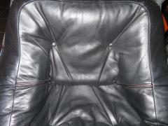 Odd Knutsen Pair of Luna Black Leather Sling Chairs with Ottoman Odd Knutsen Norway - 1674067