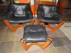 Odd Knutsen Pair of Luna Black Leather Sling Chairs with Ottoman Odd Knutsen Norway - 1674074
