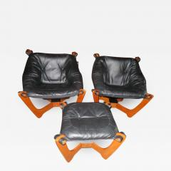 Odd Knutsen Pair of Luna Black Leather Sling Chairs with Ottoman Odd Knutsen Norway - 1676498