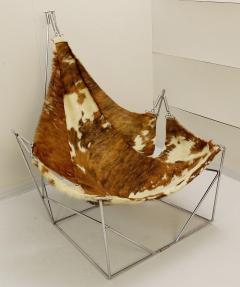 Odile Mir 1970s Cow Hide Chair By Odile Mir France  - 1715328