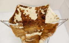 Odile Mir 1970s Cow Hide Chair By Odile Mir France  - 1715329