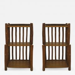 Old Hickory Furniture Co Pair of American Rustic Old Hickory 2 tier Bedside End Tables - 649025