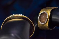 Omega Rare 1970s Omega Diamond Set Wood Dial 18 Karat Yellow Gold Wristwatch - 1154433