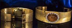 Omega Rare 1970s Omega Diamond Set Wood Dial 18 Karat Yellow Gold Wristwatch - 1154434