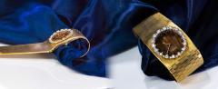 Omega Rare 1970s Omega Diamond Set Wood Dial 18 Karat Yellow Gold Wristwatch - 1154436