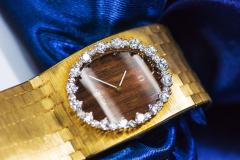 Omega Rare 1970s Omega Diamond Set Wood Dial 18 Karat Yellow Gold Wristwatch - 1154448