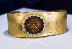 Omega Rare 1970s Omega Diamond Set Wood Dial 18 Karat Yellow Gold Wristwatch - 1154449