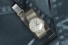 Omega Vintage 1970s Omega 18kt White Gold Diamond Set Mesh Bracelet Wristwatch - 439874