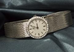 Omega Vintage 1970s Omega 18kt White Gold Diamond Set Mesh Bracelet Wristwatch - 439875