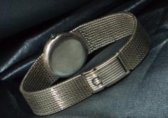 Omega Vintage 1970s Omega 18kt White Gold Diamond Set Mesh Bracelet Wristwatch - 439876
