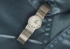Omega Vintage 1970s Omega 18kt White Gold Diamond Set Mesh Bracelet Wristwatch - 439877