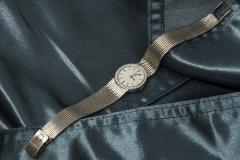 Omega Vintage 1970s Omega 18kt White Gold Diamond Set Mesh Bracelet Wristwatch - 439878
