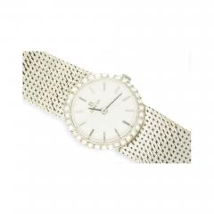 Omega Vintage 1970s Omega 18kt White Gold Diamond Set Mesh Bracelet Wristwatch - 440084