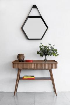 Orange Furniture BEVERLY OAK AND LEATHER HEXAGON MIRROR BY ORANGE LOS ANGELES - 1252380