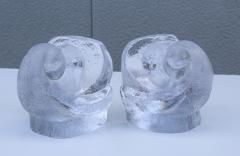 Orrefors Lars Hellsten For Orrefords Art Glass Elephant Bookends - 1565368