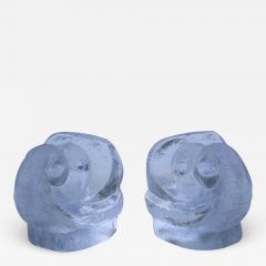 Orrefors Lars Hellsten For Orrefords Art Glass Elephant Bookends - 1565969